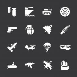 Military Icons - White Series | EPS10