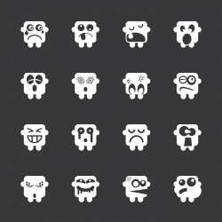 Emoticons Set 8 - White Series | EPS10