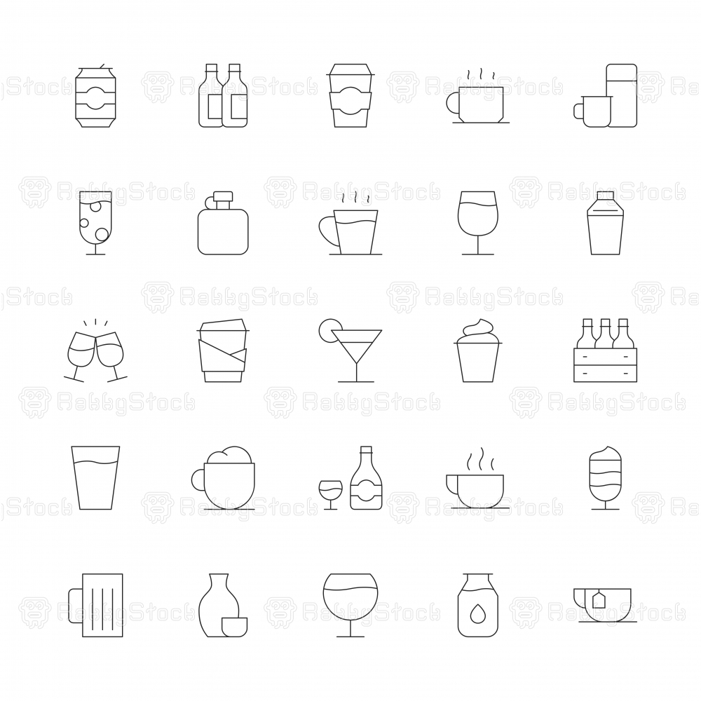 Drink Icons Set 1 - Ultra Thin Line Series