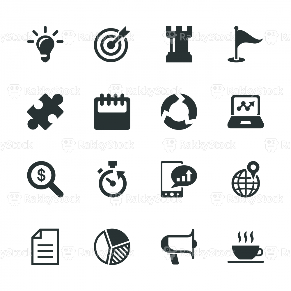 Business Strategy Silhouette Icons