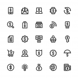 Dollar Sign Icons - Bold Line Series