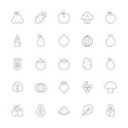 Fruit and Vegetable Icons - Ultra Thin Line Series