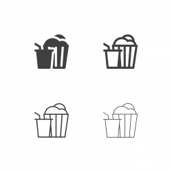 Popcorn and Cold Drink Icons - Multi Series