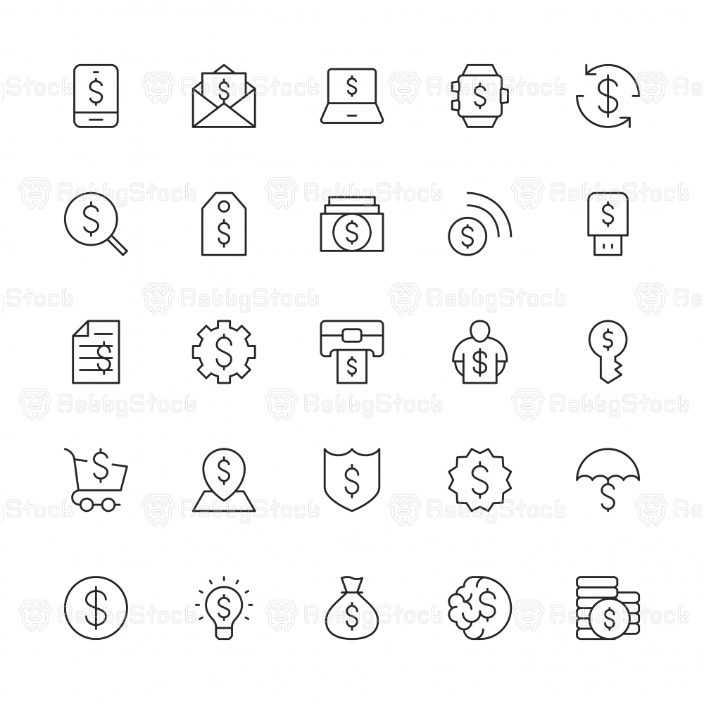 Dollar Sign Icons - Thin Line Series