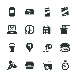 Take Out Food Silhouette Icons