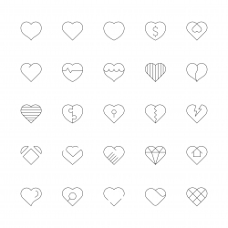 Heart Icons - Ultra Thin Line Series