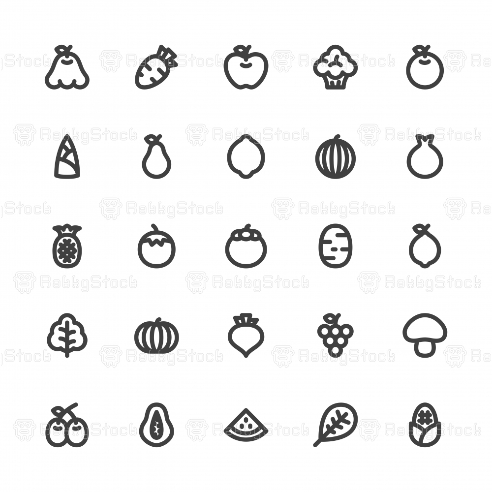 Fruit and Vegetable Icons - Bold Line Series