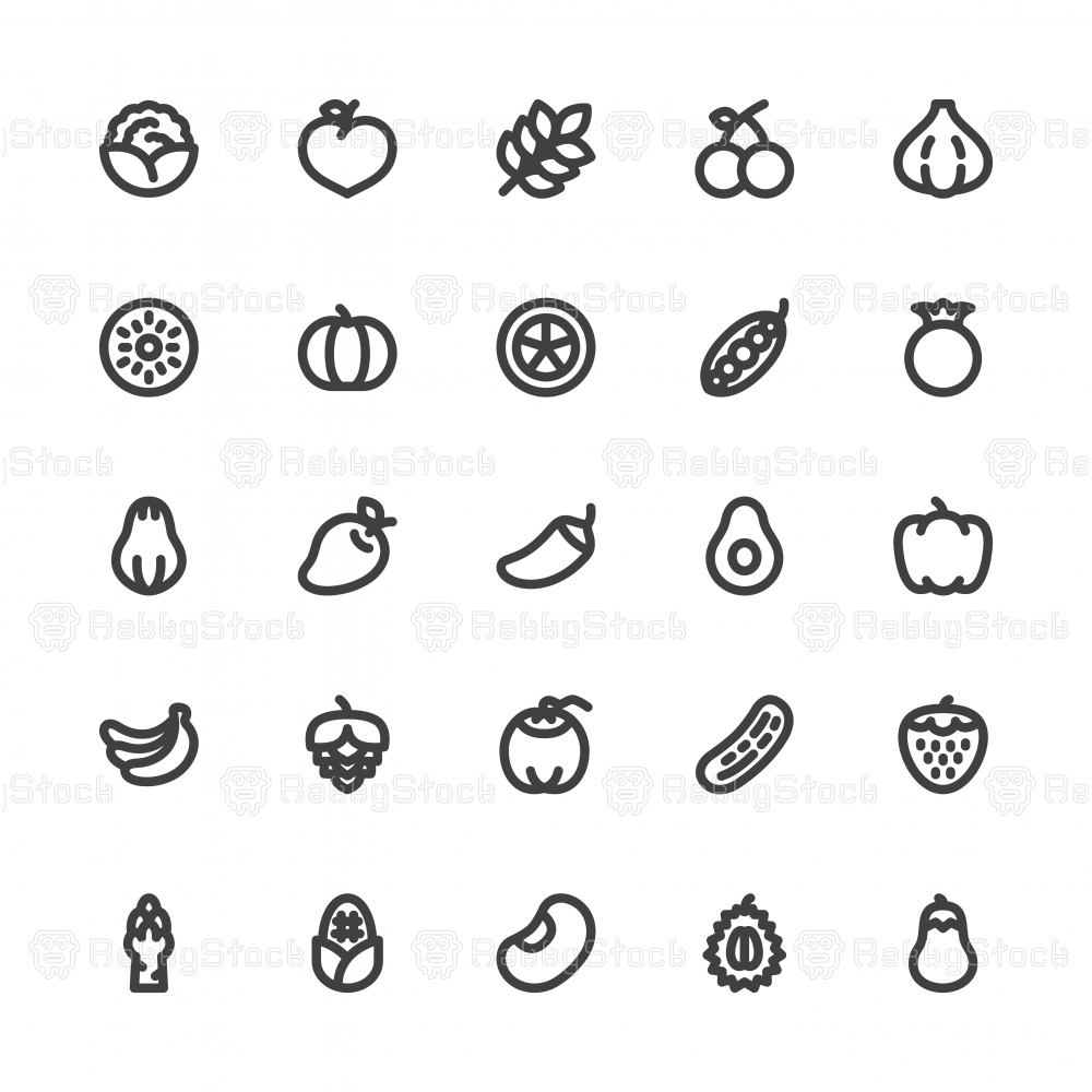 Vegetable and Fruit Icons - Bold Line Series