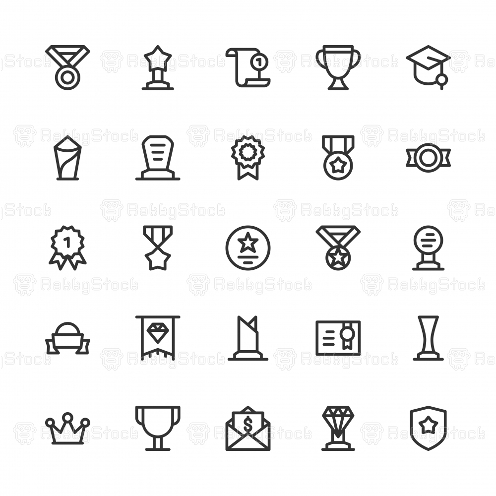 Award and Trophy Icons - Line Series