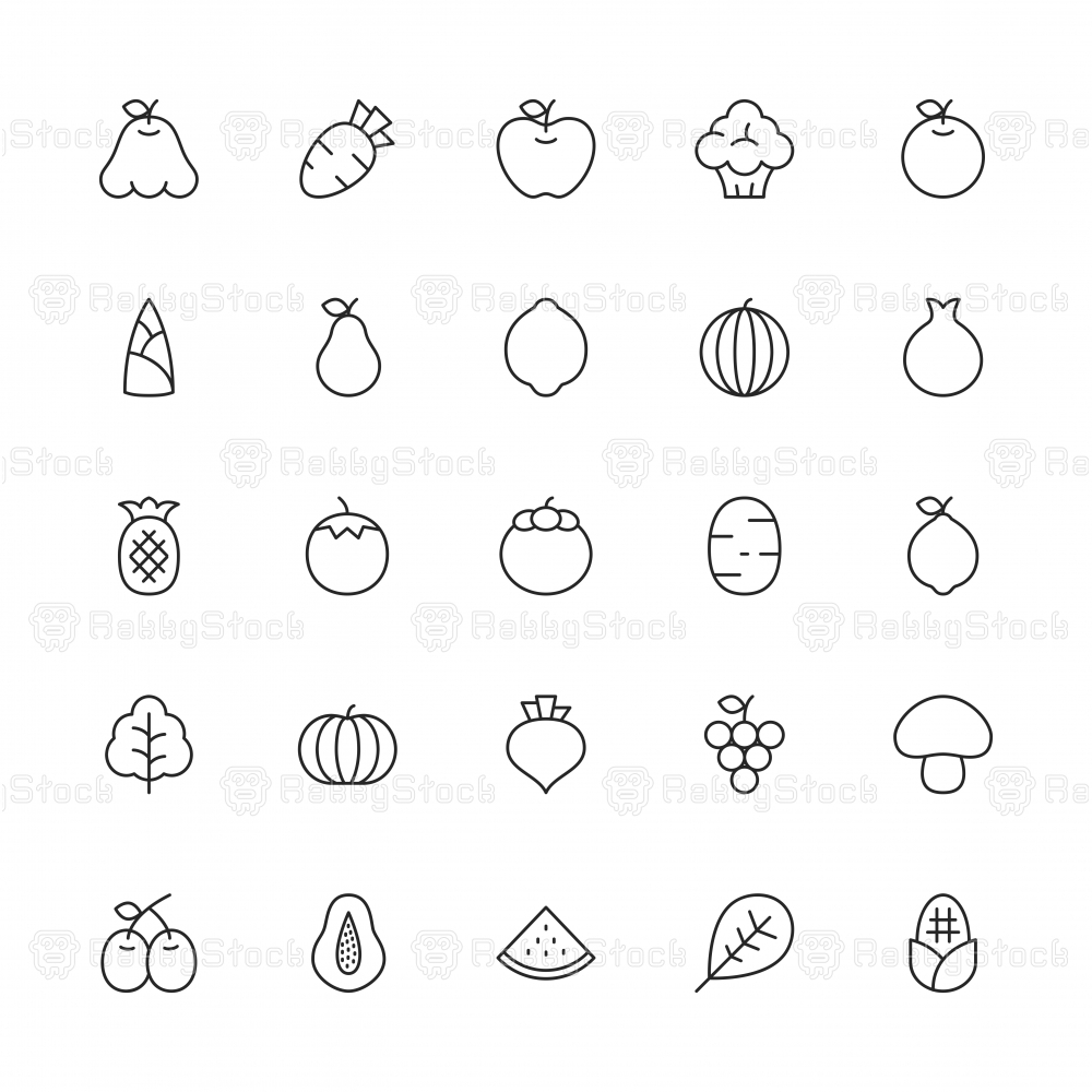 Fruit and Vegetable Icons - Thin Line Series
