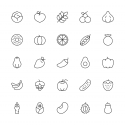 Vegetable and Fruit Icons - Thin Line Series