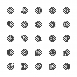 Brain with Basic Icons - Gray Series