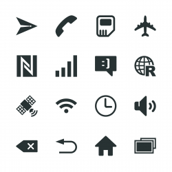 Smartphone Interface Silhouette Icons