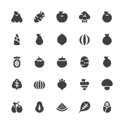 Fruit and Vegetable Icons - Gray Series