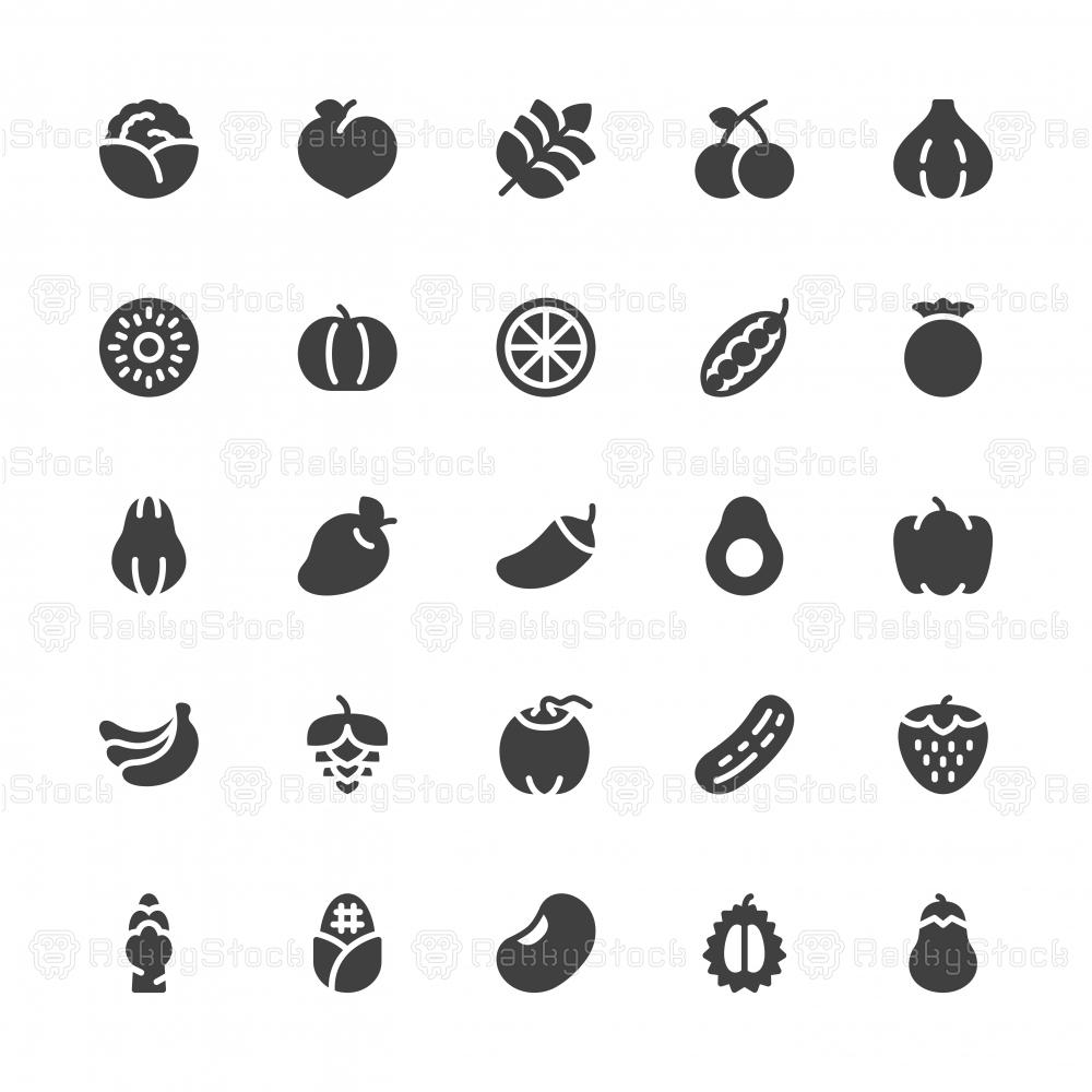 Vegetable and Fruit Icons - Gray Series