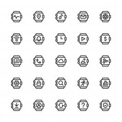 Smart Watch Icons - Line Series