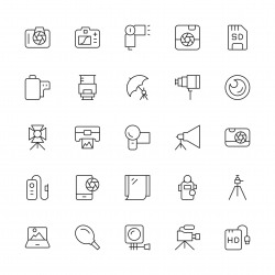 Photography Icons - Thin Line Series