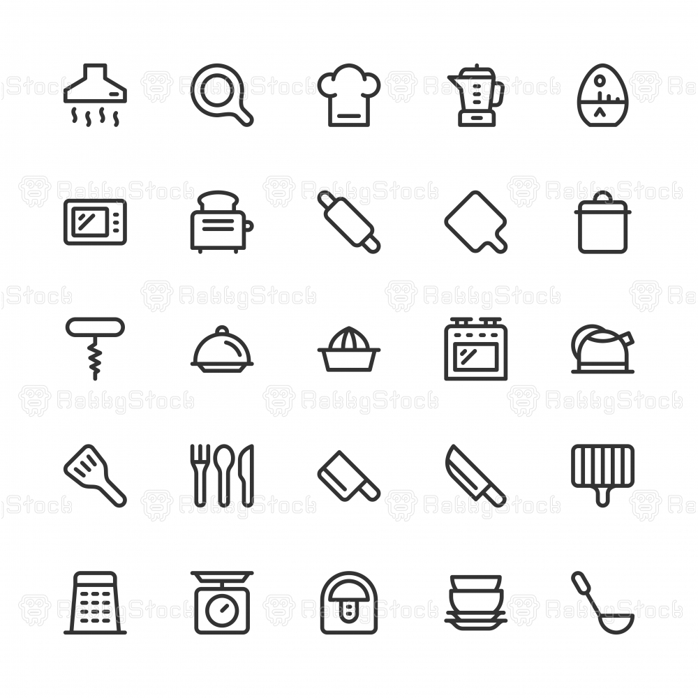 Kitchen Utensil Icons - Line Series