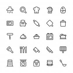Kitchen Utensil Icons - Line Series