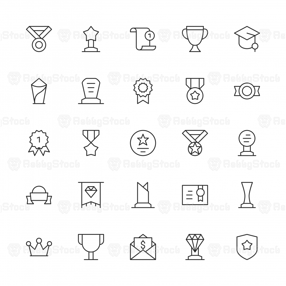 Award and Trophy Icons - Thin Line Series