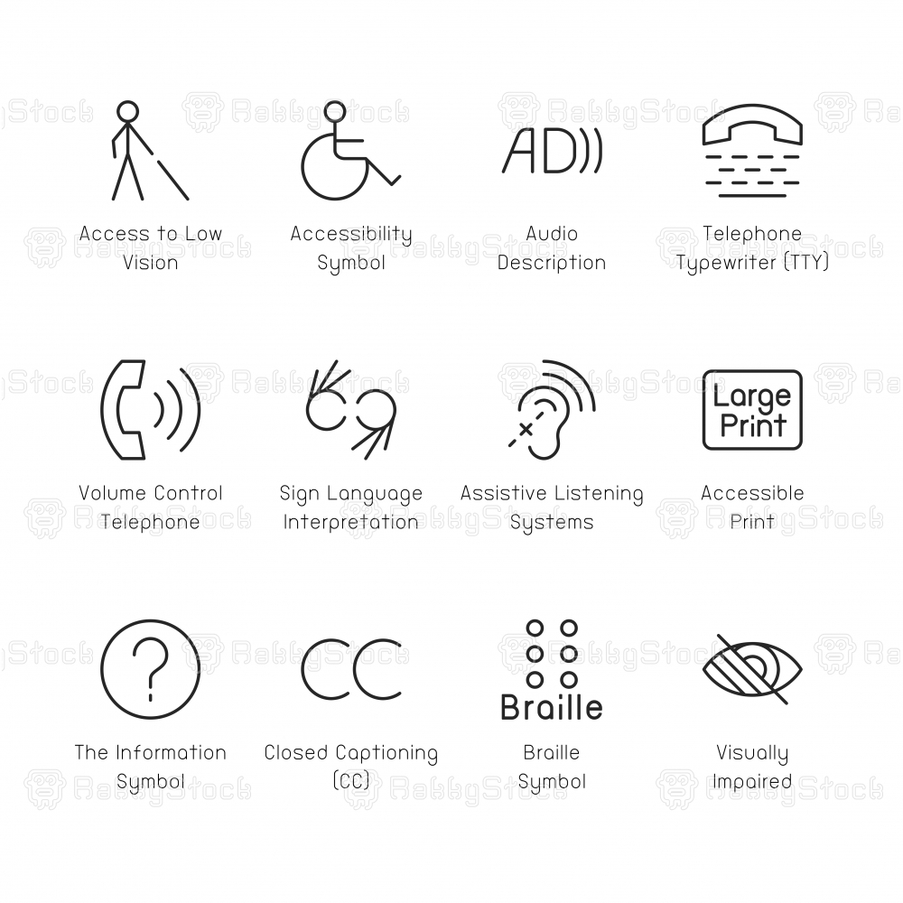 Disabled Accessibility Icons - Thin Line Series