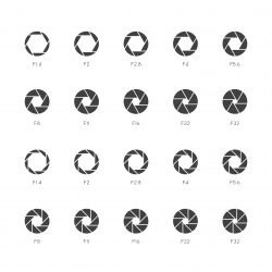 Size of Aperture Icons - Thin Gray Series