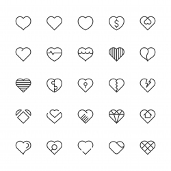 Heart Icons - Light Line Series