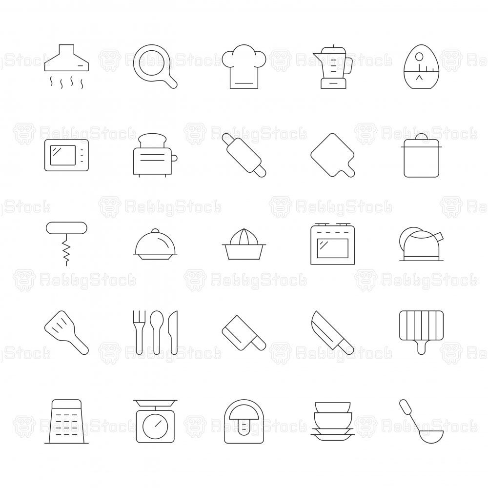 Kitchen Utensil Icons - Ultra Thin Line Series