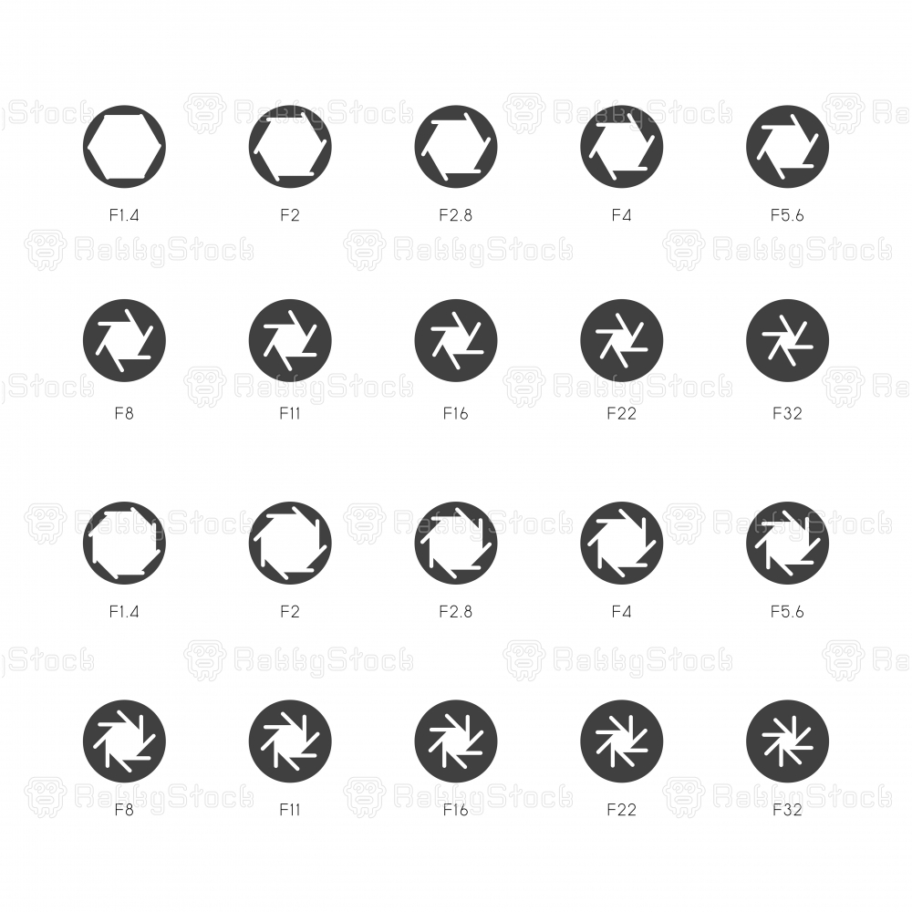 Size of Aperture Icons - Light Gray Series