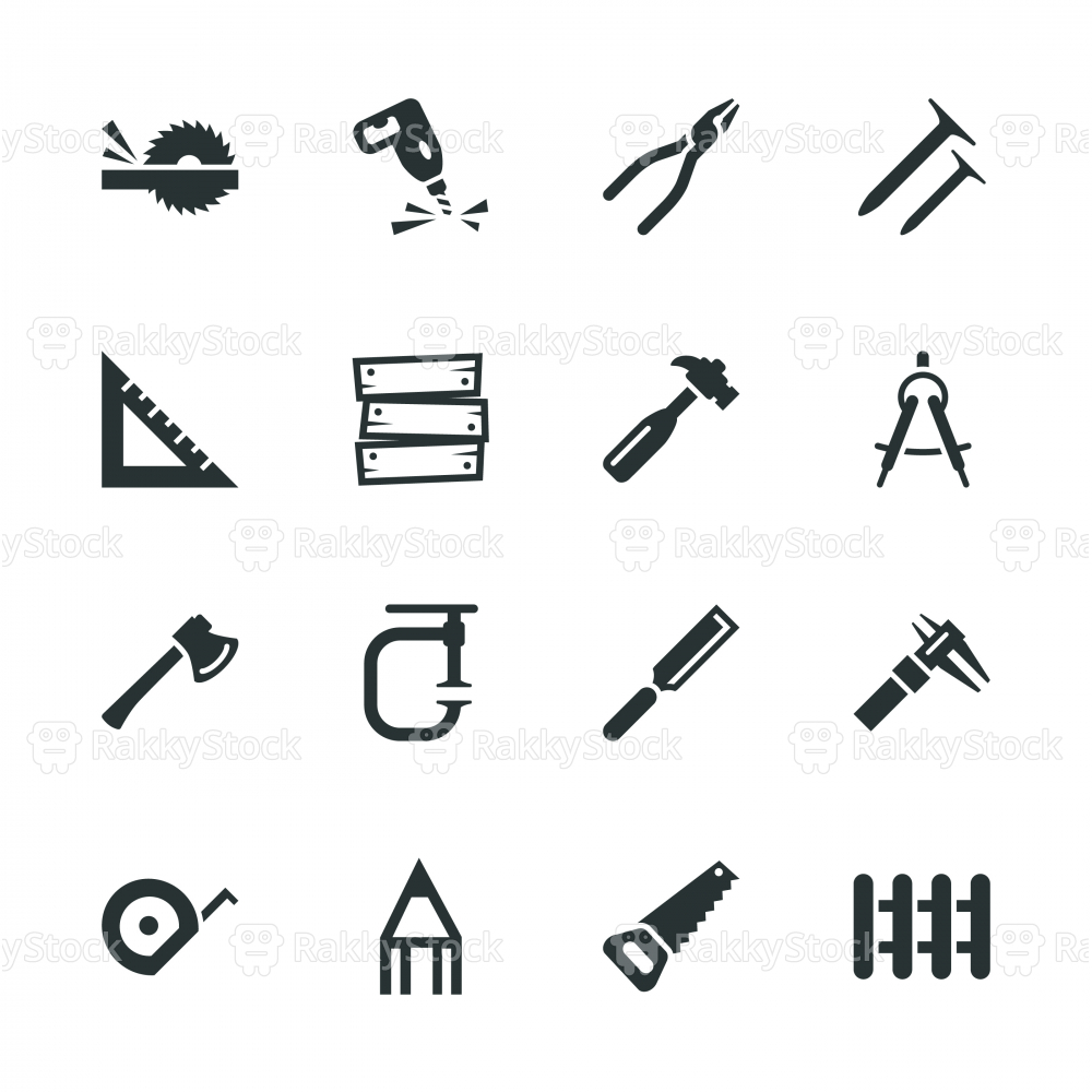 Carpenter Silhouette Icons