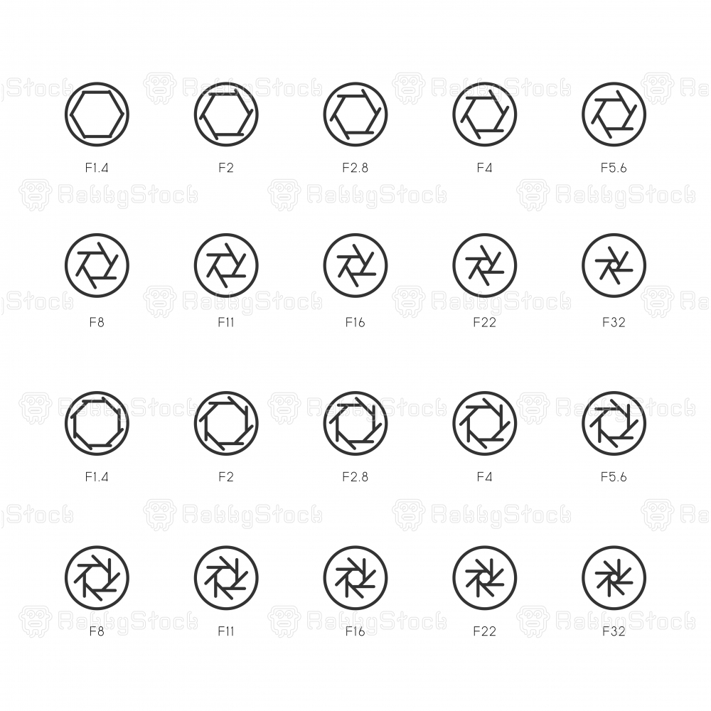 Size of Aperture Icons - Light Line Series
