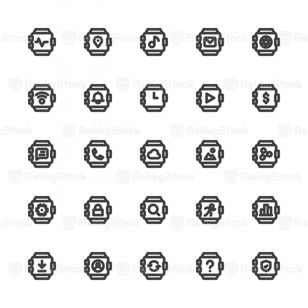 Smart Watch Icons - Bold Line Series