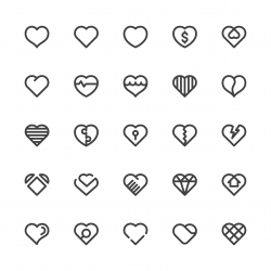Heart Icons - Semi Bold Line Series