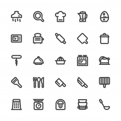 Kitchen Utensil Icons - Bold Line Series