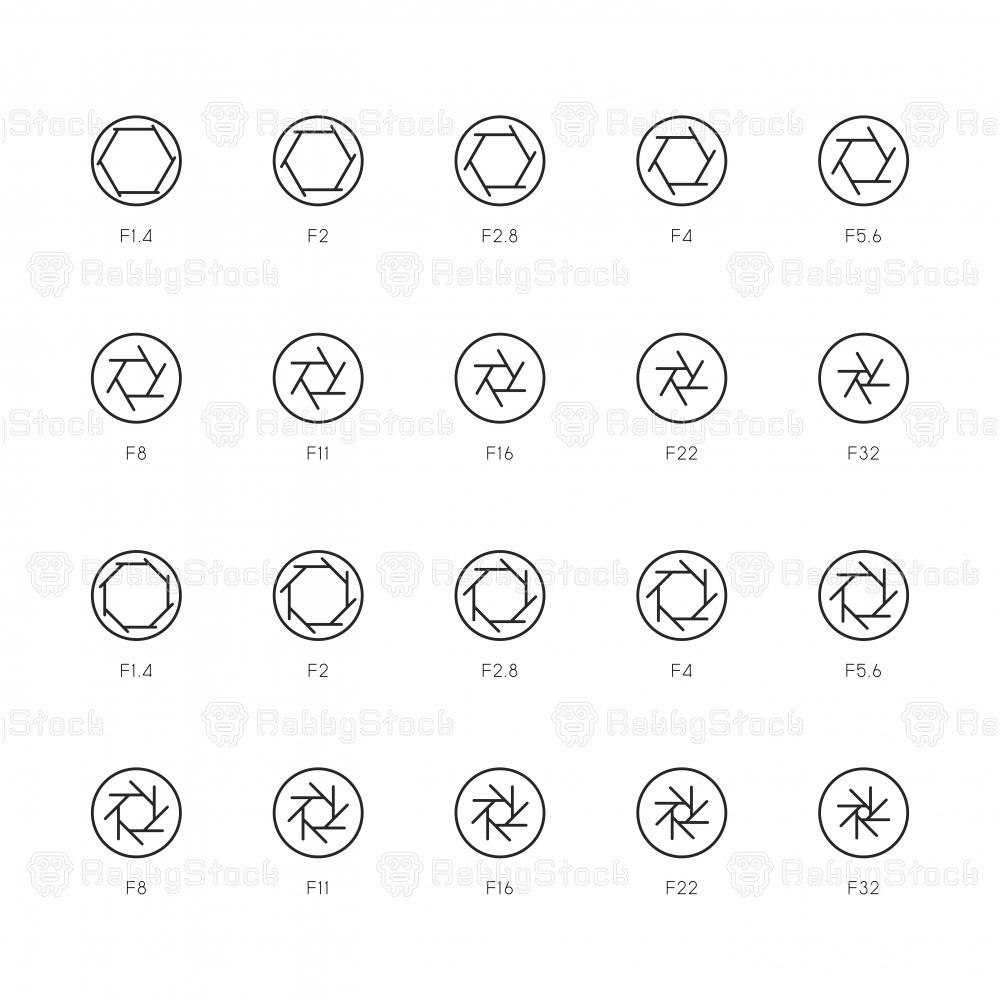 Size of Aperture Icons - Thin Line Series