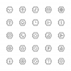 Smart Watch Icons - Thin Line Series