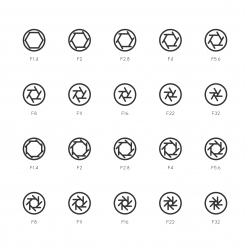 Size of Aperture Icons - Line Series