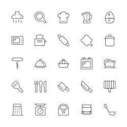 Kitchen Utensil Icons - Thin Line Series