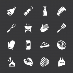 Barbecue Icons - White Series | EPS10