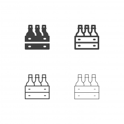 Wine Bottle in Wooden Crate Icons - Multi Series