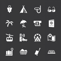 Travel and Vacation Icons Set 2 - White Series | EPS10