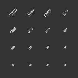 Paper Clip Icons - White Multi Scale Line Series