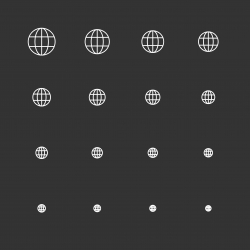 Globe Icons - White Multi Scale Line Series