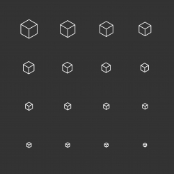 Cubic Icons - White Multi Scale Line Series