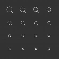 Magnifying Glass Icons - White Multi Scale Line Series