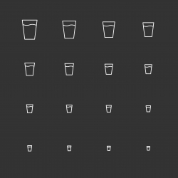 Glass of Water Icons - White Multi Scale Line Series