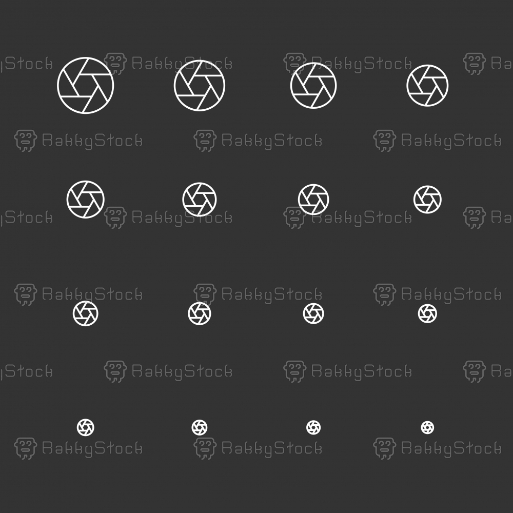 Aperture Icons - White Multi Scale Line Series