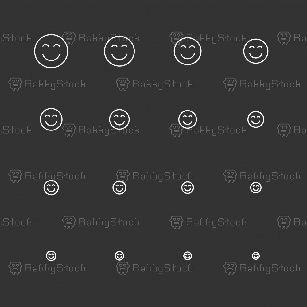 Smiley Emoticon Icons - White Multi Scale Line Series