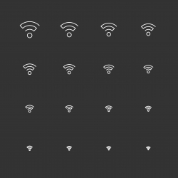 Wireless Signal Icons - White Multi Scale Line Series