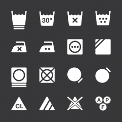 Laundry Sign Icons Set 3 - White Series | EPS10